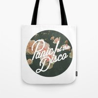 panic at the disco Tote Bags featuring Panic! at the disco  by Van de nacht