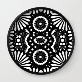 BLACK AND WHITE TIKI FLOWER ABSTRACT ARTWORK  Wall Clock