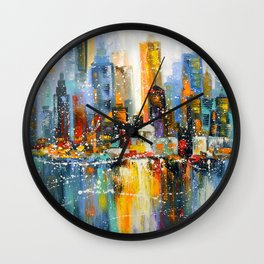 First snow in the metropolis Wall Clock