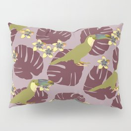 Colorful Monstera, Frangipani and Toucan Pattern QR Pillow Sham