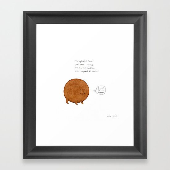 [Square version] the spherical bear Framed Art Print