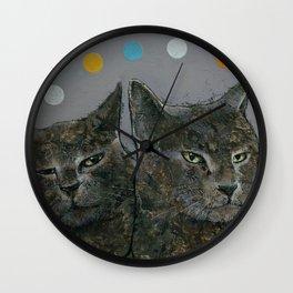Grey Cats Wall Clock