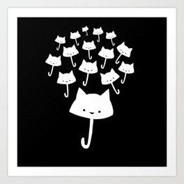 minima - cat rain Art Print