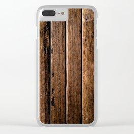 Farmhouse Wood Slats Wood Design Clear iPhone Case