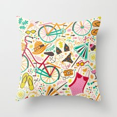 Seaside Cycle Throw Pillow