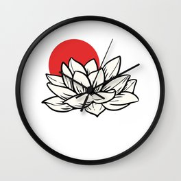 Japan Flag Flower Nature Lover Gift Wall Clock