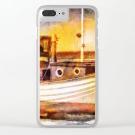 Boat Sunset Beach Painting Clear iPhone Case