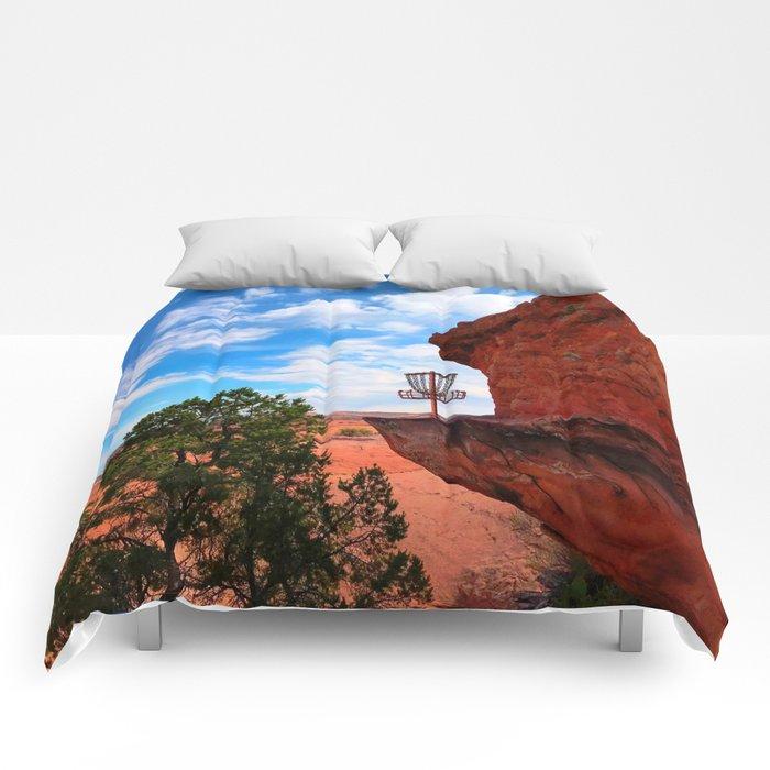 Disc Golf Basket in Moab Utah Comforters