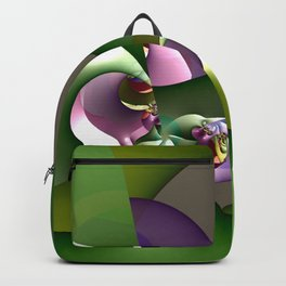 Abstract geometric round shapes on green Backpack