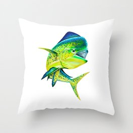 Mahi Time - Lit-Up Mahi Mahi, Dorado, Dolphin Throw Pillow