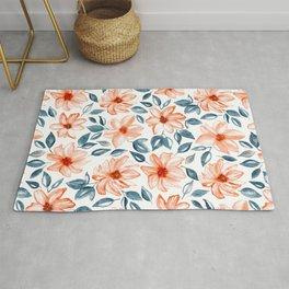 Orange & Navy Watercolor Floral Rug