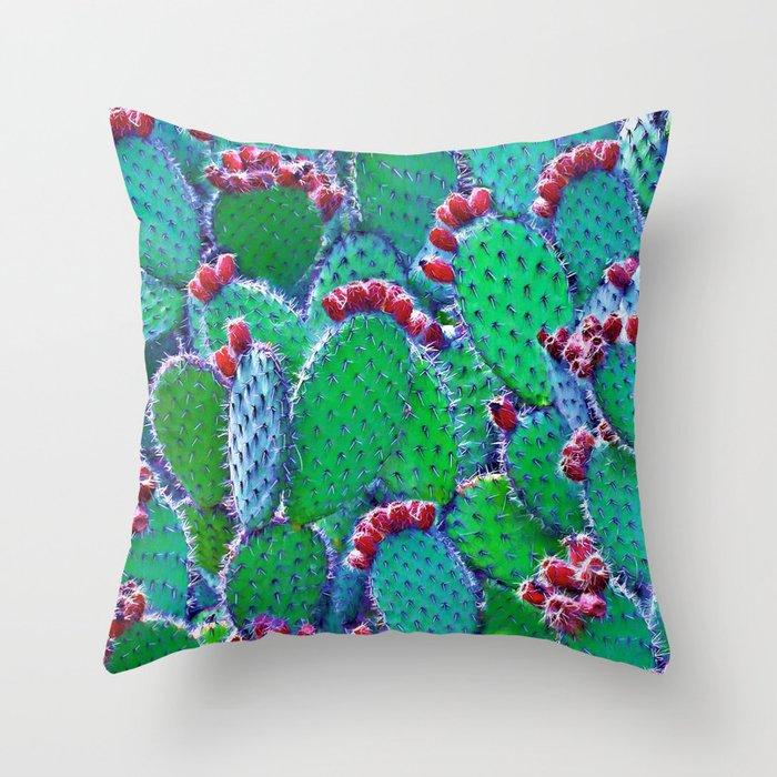 Flowering cacti Throw Pillow