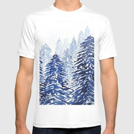 A snowy pine forest T-shirt