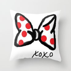 Minnie Red Polka Dot Bow Throw Pillow
