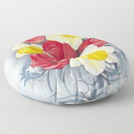 Spring Flowers Watercolour Floor Pillow