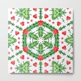 Holly Jolly Christmas Wreath Mandala (Large Pattern) Metal Print