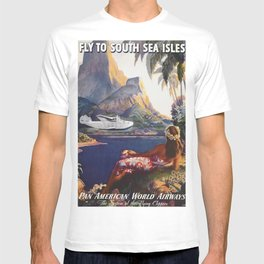 Fly to South Sea Isles, American Airways Vintage Travel Poster  T-shirt