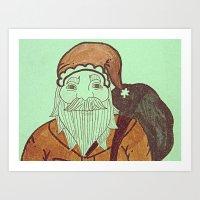 Jolly Old Santa Claus, Merry Christmas. Art Print