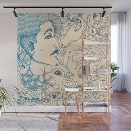 Blue and White Ideas and doodles Wall Mural