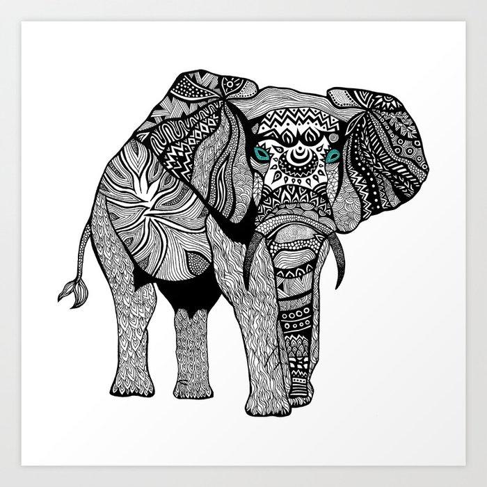 Elephant of namibia black white art print