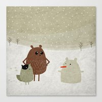 snowman Canvas Prints featuring Snowman by Fuzzorama