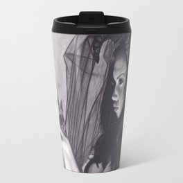 Realism Charcoal Drawing of Sexy Dark Queen in Veil with Skull Travel Mug
