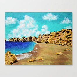 Beach In Albufeira, Portugal by Mike Kraus - seascape beach europe swimming cliffs sky clouds teal Canvas Print