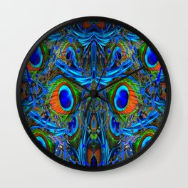 ARTY FEATHERY BLUE PEACOCK ABSTRACTED  FEATHERS ART Wall Clock