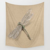 dragonfly Wall Tapestries featuring Dragonfly by Daydreamer