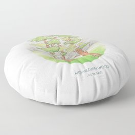 Haruki Murakami's Norwegian Wood // Illustration of a Forest and Mountains in Pencil Floor Pillow