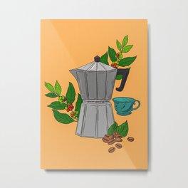 Cute Coffee Maker Moka Pot Metal Print