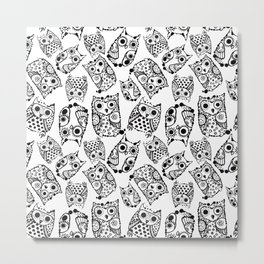 Funny cute owls with ink splashes. Metal Print