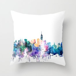 New York City Watercolor Skyline Throw Pillow