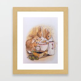 Peter Rabbit with his parents Framed Art Print