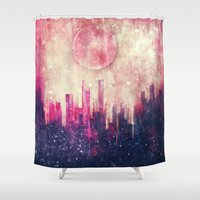 city Shower Curtains featuring Mysterious city by SensualPatterns