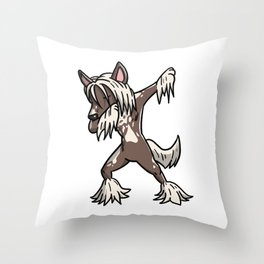 Funny Dabbing Chinese Crested Dog Dab Dance Throw Pillow