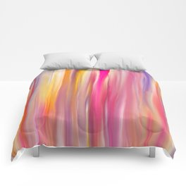 Abstract pink violet yellow watercolor brushstrokes stripes Comforters