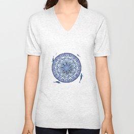 8 Koi Lotus Mandala in Blue Unisex V-Neck