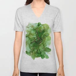 Abstract Bloom Green Gold Cactus Ink Unisex V-Neck
