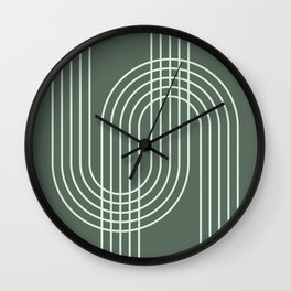 Geometric Lines in Forest Green Wall Clock