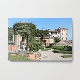 Villa Vizcaya Garden View Metal Print