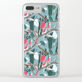 Hiding Birds Pink Clear iPhone Case