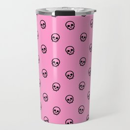Pink Skull Pattern Travel Mug