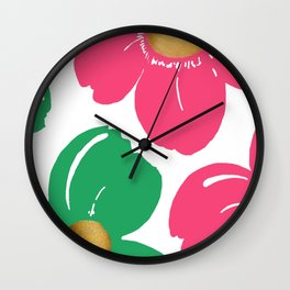 Colorful Pink and Green Flowers Art Wall Clock