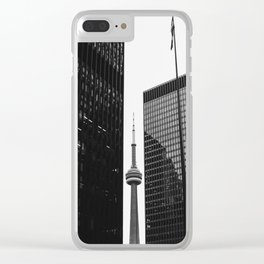 CN Tower Between Buildings Clear iPhone Case
