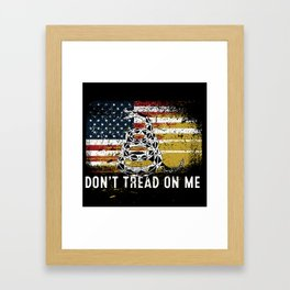 Don't Tread on Me Military USA American Flag Rattlesnake Distressed Design American Revolution Framed Art Print