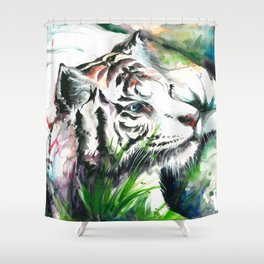 WHITE TIGER WATERCOLOR Shower Curtain