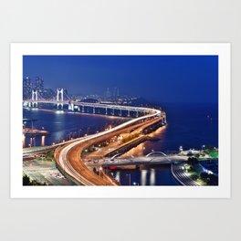 Gwangandaegyo Bridge (Busan, South Korea) Art Print