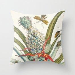 Vintage Pineapple Botanical Print Throw Pillow