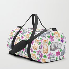 Kittens and Clematis - white Duffle Bag